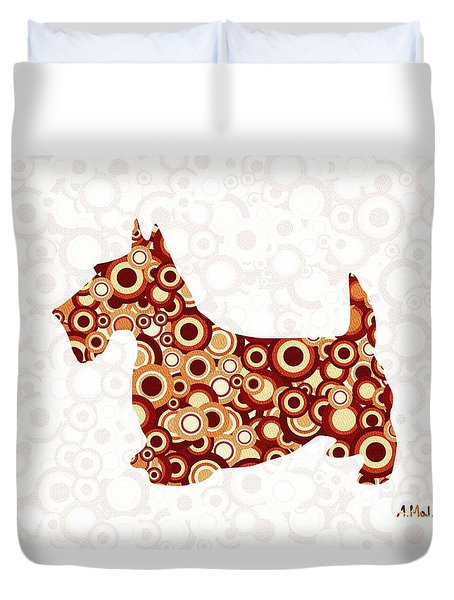 Scottish Terrier - Animal Art Duvet Cover by Anastasiya Malakhova