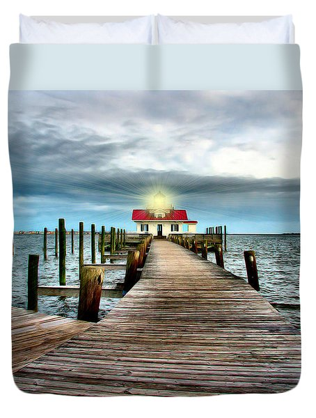 Screw-pile Lighthouse Duvet Cover by Nadine Lewis