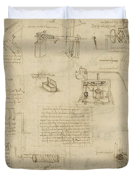 Screws And Lathe Assembling Press For Olives For Oil Production And Components Of Plumbing Machine  Duvet Cover by Leonardo Da Vinci