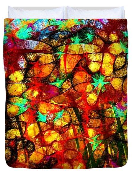 Scribble Flowers Duvet Cover by Elizabeth McTaggart