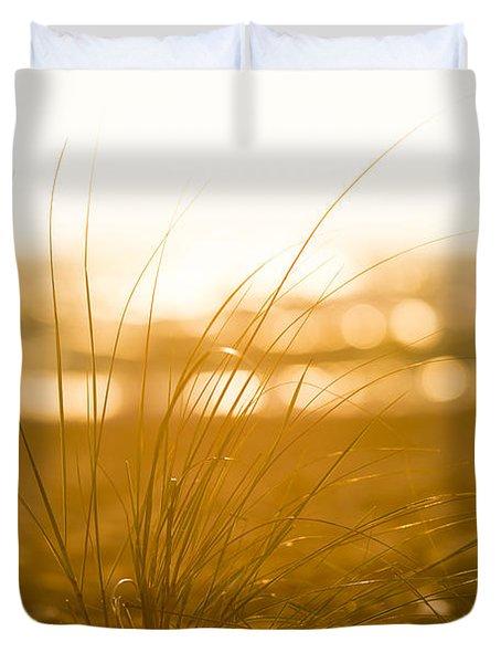 Sea Oats Sunset Duvet Cover by Sebastian Musial