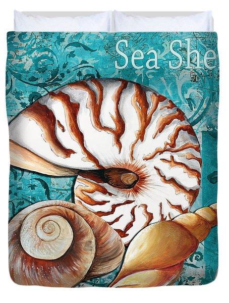 Sea Shells Original Coastal Painting Colorful Nautilus Art by Megan Duncanson Duvet Cover by Megan Duncanson