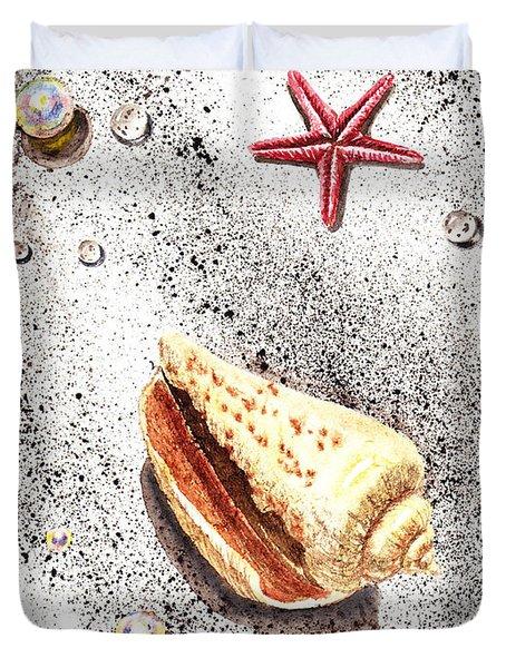 Sea Shells Pearls Water Drops And Seastar Duvet Cover by Irina Sztukowski
