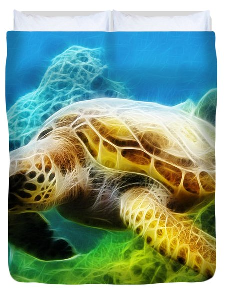 Sea Turtle 1 Duvet Cover by Cheryl Young