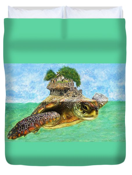 Sea Turtle Island Duvet Cover by Jane Schnetlage