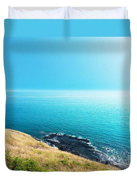 Sea Views From Cliffs Duvet Cover by Atiketta Sangasaeng