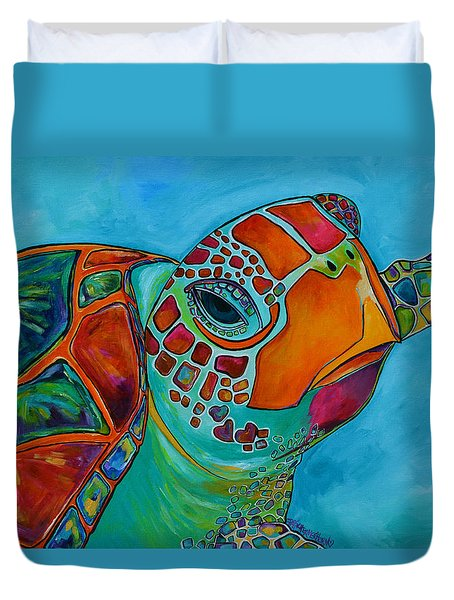 Seaglass Sea Turtle Duvet Cover by Patti Schermerhorn