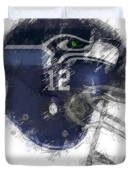 Seahawks 12 Duvet Cover by Daniel Hagerman