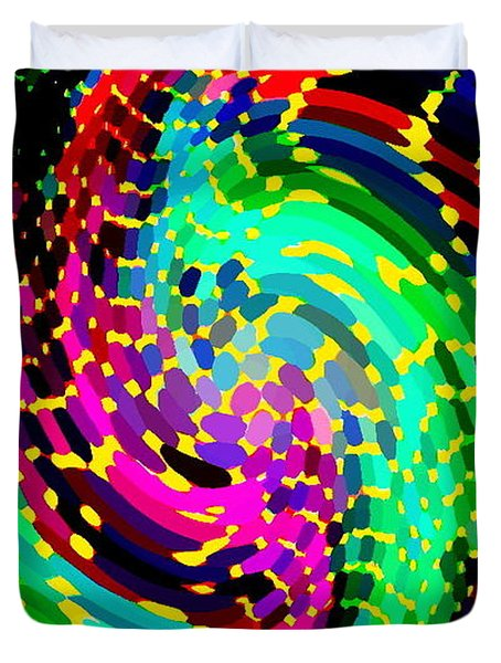 SEAHORSE PHONE CASE ART COLORFUL DYNAMIC ABSTRACT GEOMETRIC DESIGN BY CAROLE SPANDAU 130  CBS ART Duvet Cover by CAROLE SPANDAU