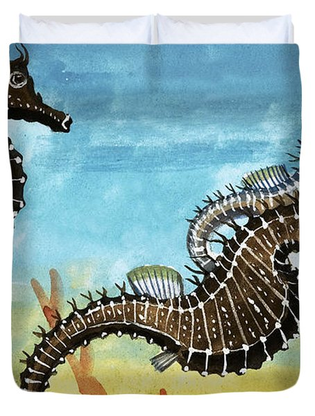 Seahorses Duvet Cover by English School