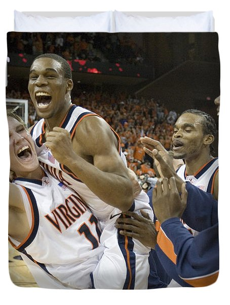 Sean Singletary and Lars Mikalauskas Celebrate UVA Win Over Arizona Duvet Cover by Jason O Watson