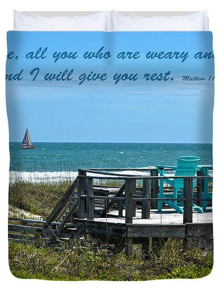 Seascape And Scripture Duvet Cover by Sandi OReilly