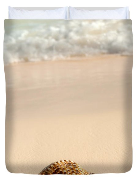 Seashell and ocean wave Duvet Cover by Elena Elisseeva