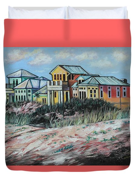 Seaside Cottages Duvet Cover by Eve  Wheeler