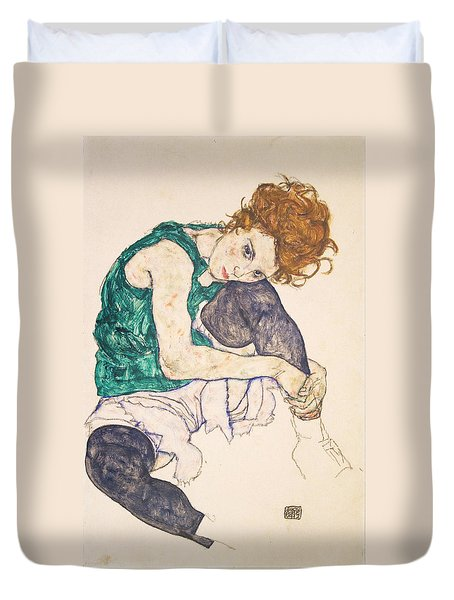 Seated Woman With Legs Drawn Up. Adele Herms Duvet Cover by Egon Schiele