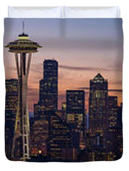 Seattle Cityscape Morning Light Duvet Cover by Mike Reid