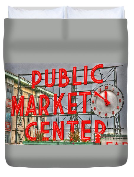 Seattle Public Market Center Clock Sign Duvet Cover by Tap On Photo