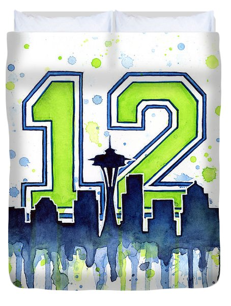 Seattle Seahawks 12th Man Art Duvet Cover by Olga Shvartsur