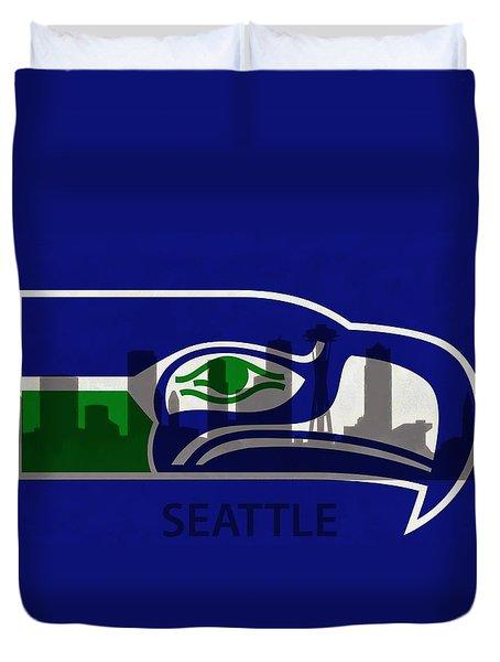 Seattle Seahawks On Seattle Skyline Duvet Cover by Dan Sproul