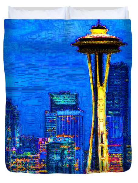 Seattle Space Needle 20130115v1 Duvet Cover by Wingsdomain Art and Photography