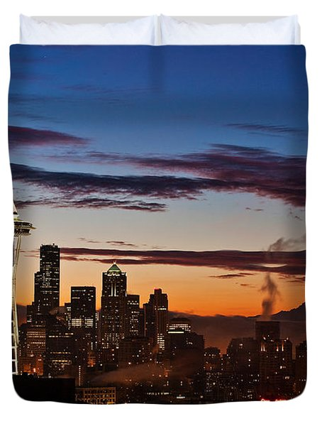 Seattle Sunrise Duvet Cover by Mike Reid