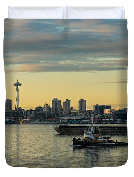 Seattles Working Harbor Duvet Cover by Mike Reid
