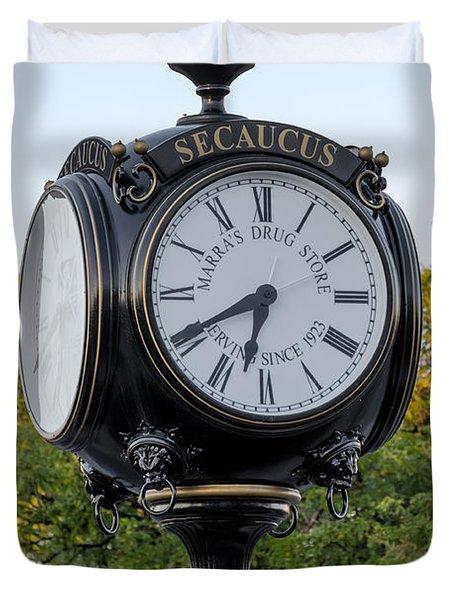 Secaucus Clock Marras Drugs Duvet Cover by Susan Candelario