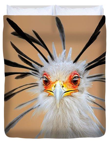 Secretary bird portrait close-up head shot Duvet Cover by Johan Swanepoel