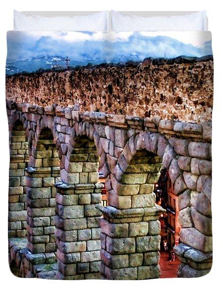 Segovia Aqueduct Spain By Diana Sainz Duvet Cover by Diana Sainz