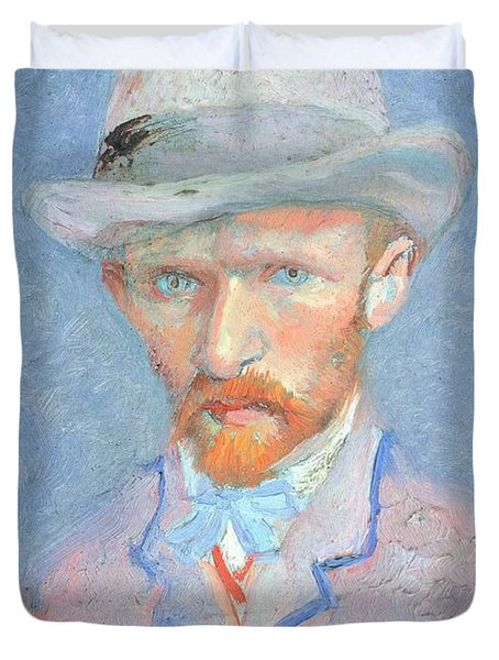 Self-portrait With Gray Felt Hat Duvet Cover by Vincent van Gogh