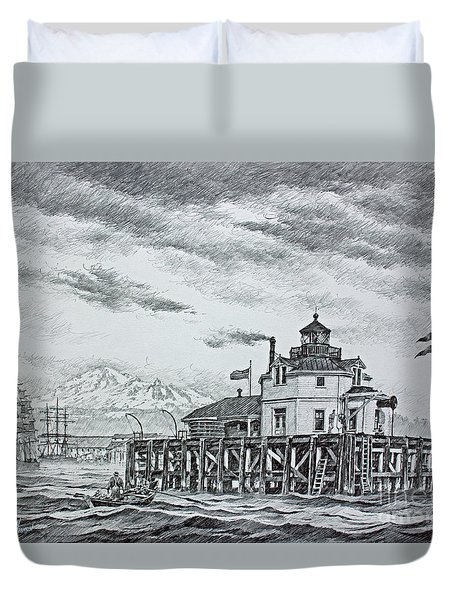 Semiahmoo Lighthouse - Drawing Duvet Cover by James Williamson
