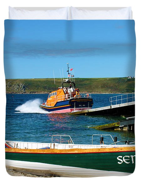 Sennen Cove Lifeboat And Pilot Gigs Duvet Cover by Terri Waters