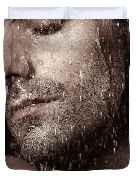 Sensual Portrait Of Man Face Under Pouring Water Duvet Cover by Oleksiy Maksymenko