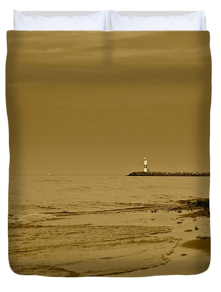 Sepia Lighthouse Duvet Cover by Frozen in Time Fine Art Photography