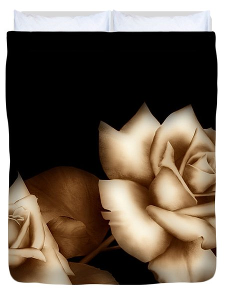 Sepia Roses Duvet Cover by Cheryl Young