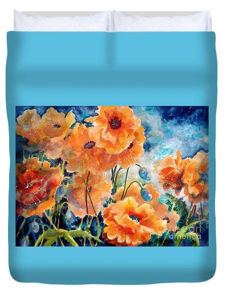 September Orange Poppies Duvet Cover by Kathy Braud