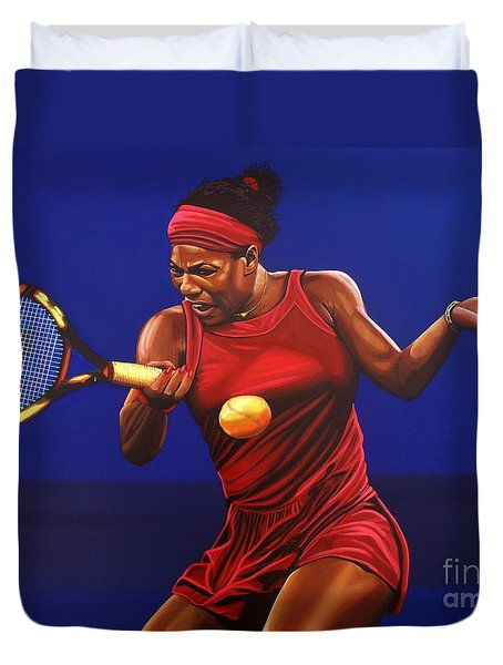 Serena Williams Painting Duvet Cover by Paul Meijering