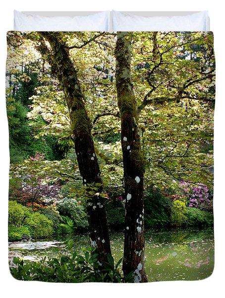 Serene Garden Retreat Duvet Cover by Carol Groenen