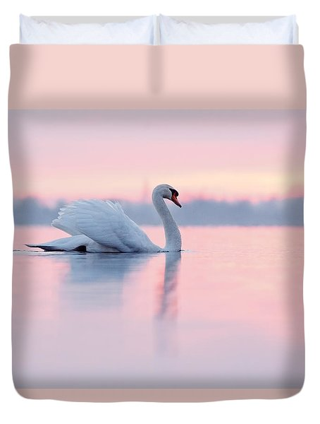 Serenity   Mute Swan At Sunset Duvet Cover by Roeselien Raimond