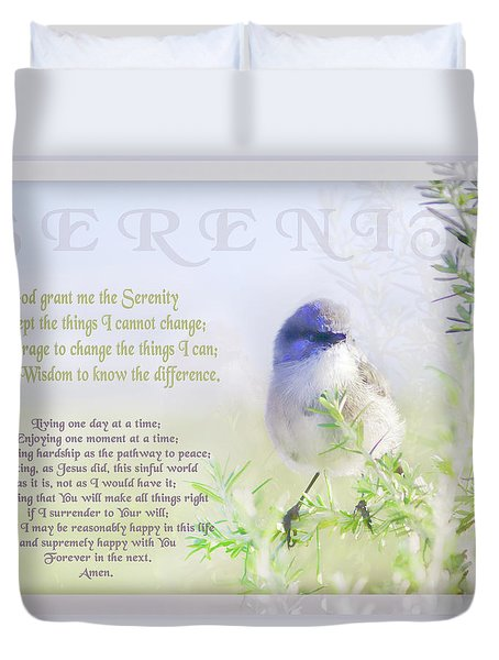 Serenity Prayer Duvet Cover by Holly Kempe
