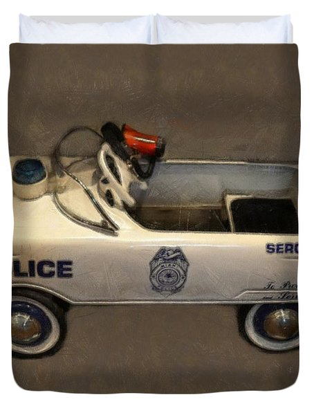 Sergeant Pedal Car Duvet Cover by Michelle Calkins