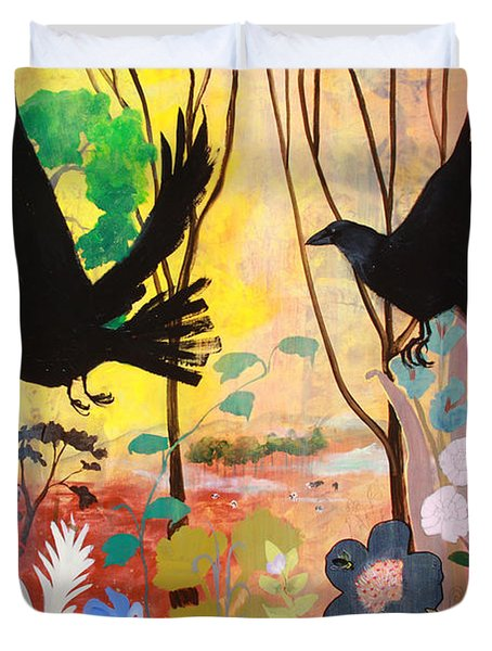 Seven Circling Crows Duvet Cover by Robin Maria Pedrero