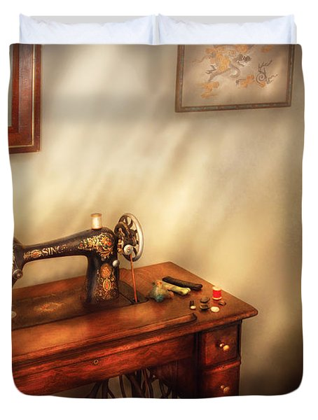 Sewing Machine - Sewing In A Cozy Room  Duvet Cover by Mike Savad