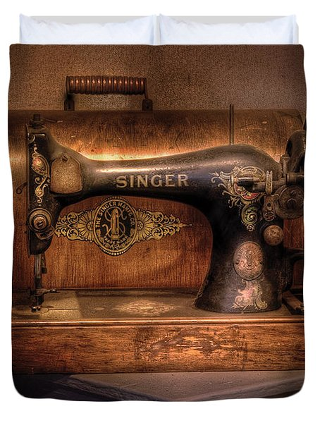 Sewing Machine  - Singer  Duvet Cover by Mike Savad