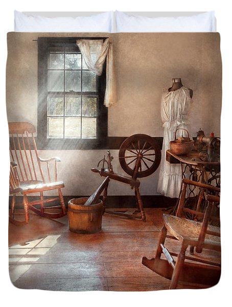 Sewing - Room - Grandma's Sewing Room Duvet Cover by Mike Savad