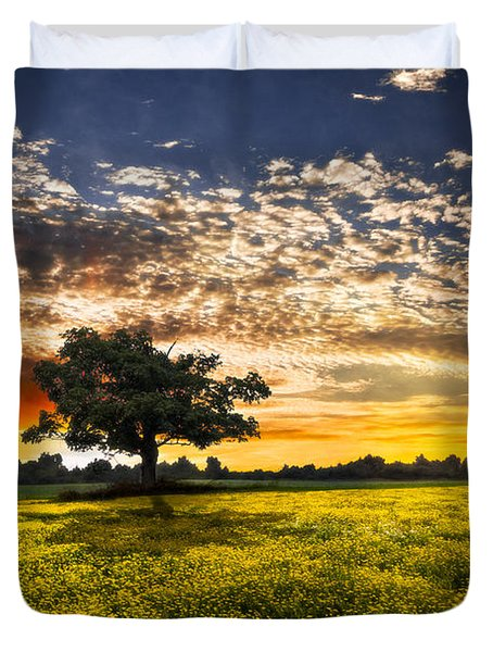 Shadows At Sunset Duvet Cover by Debra and Dave Vanderlaan