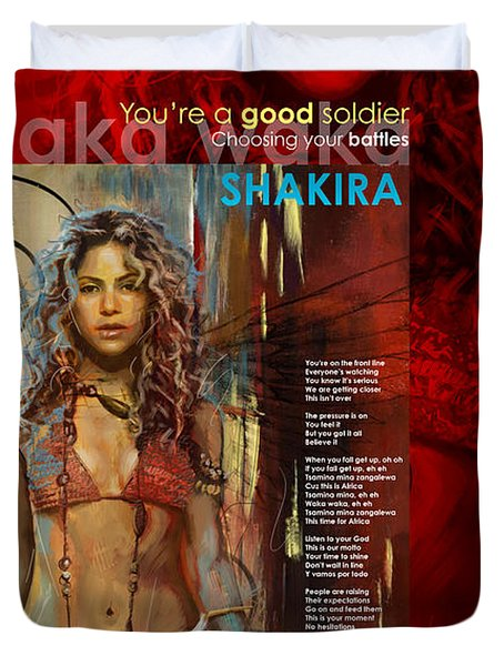 Shakira Art Poster Duvet Cover by Corporate Art Task Force