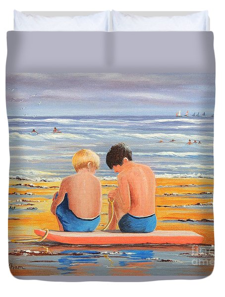 Sharing Is Caring Duvet Cover by Bill Holkham