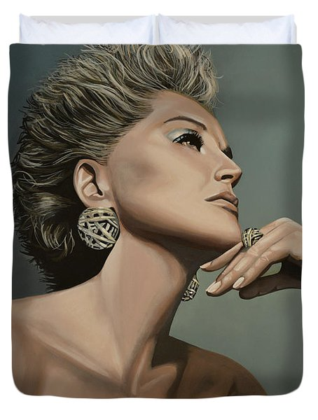 Sharon Stone Duvet Cover by Paul  Meijering