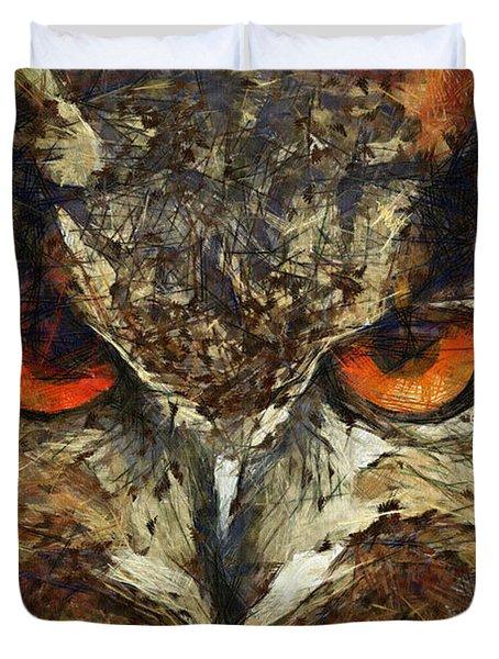 Sharpie Owl Duvet Cover by Ayse Deniz